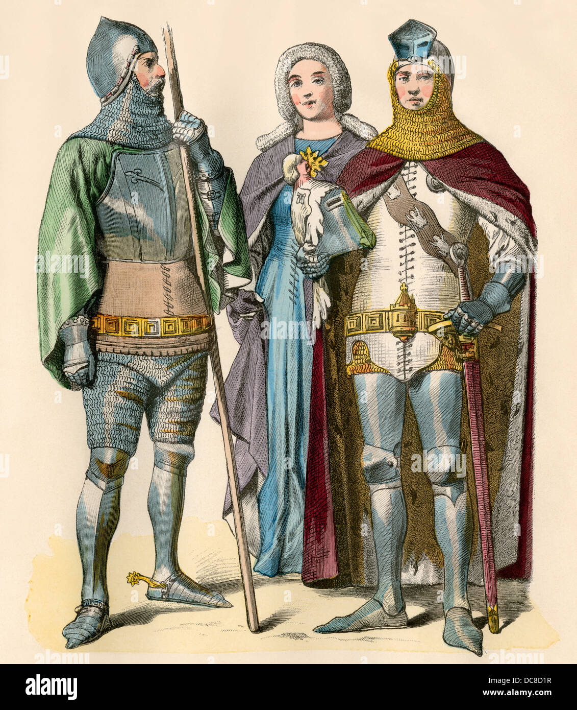 German knights and lady. Hand-colored print - Stock Image
