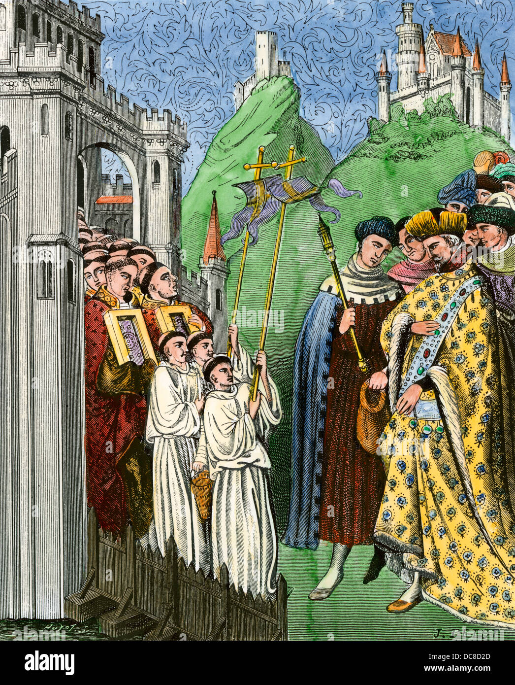 Clergy carrying a cross and holy images in procession before the emperor, early Middle Ages. Hand-colored woodcut - Stock Image