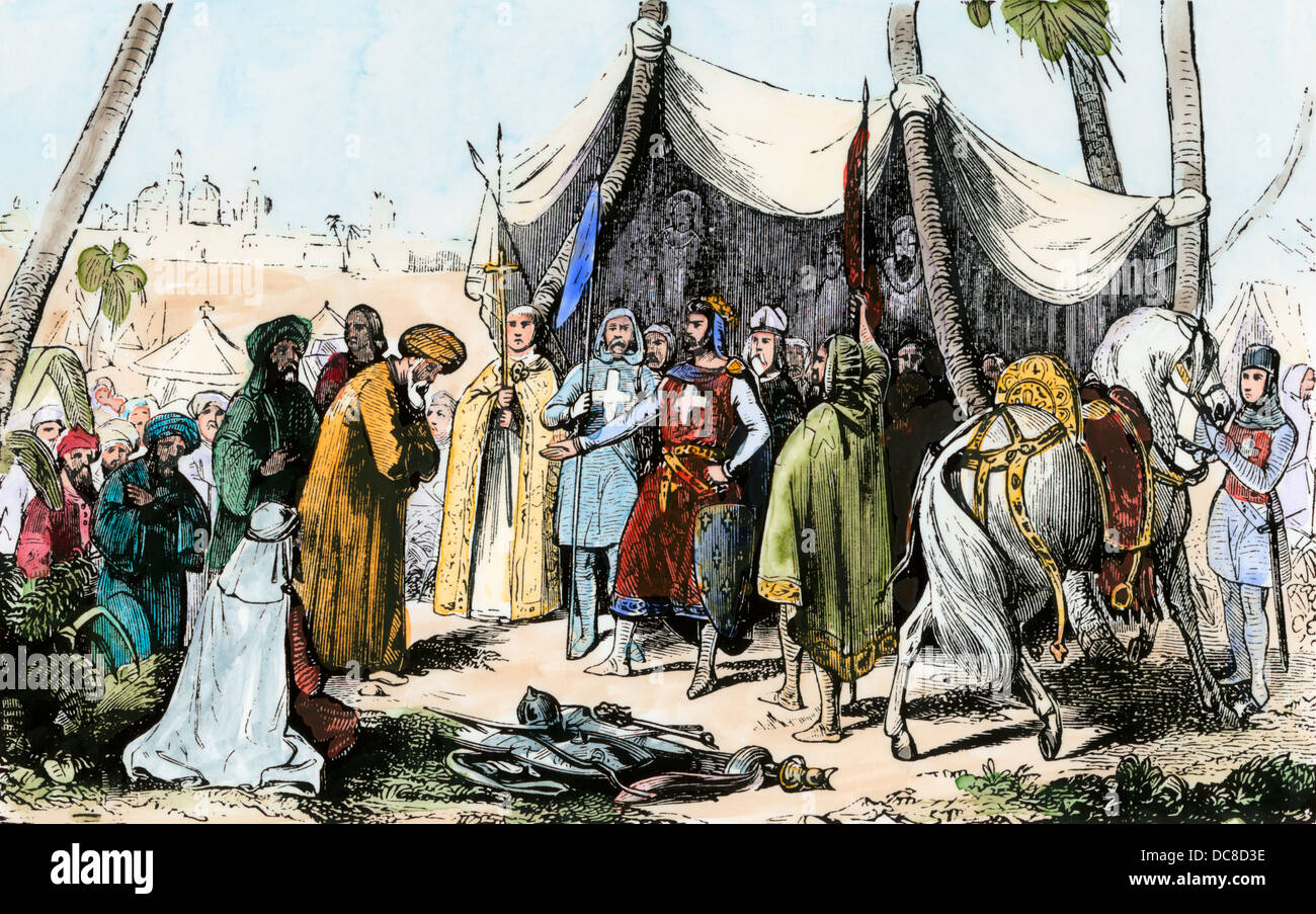 Muslims' capitulation at Acre during the Third Crusade, 1191 AD.  Hand-colored woodcut