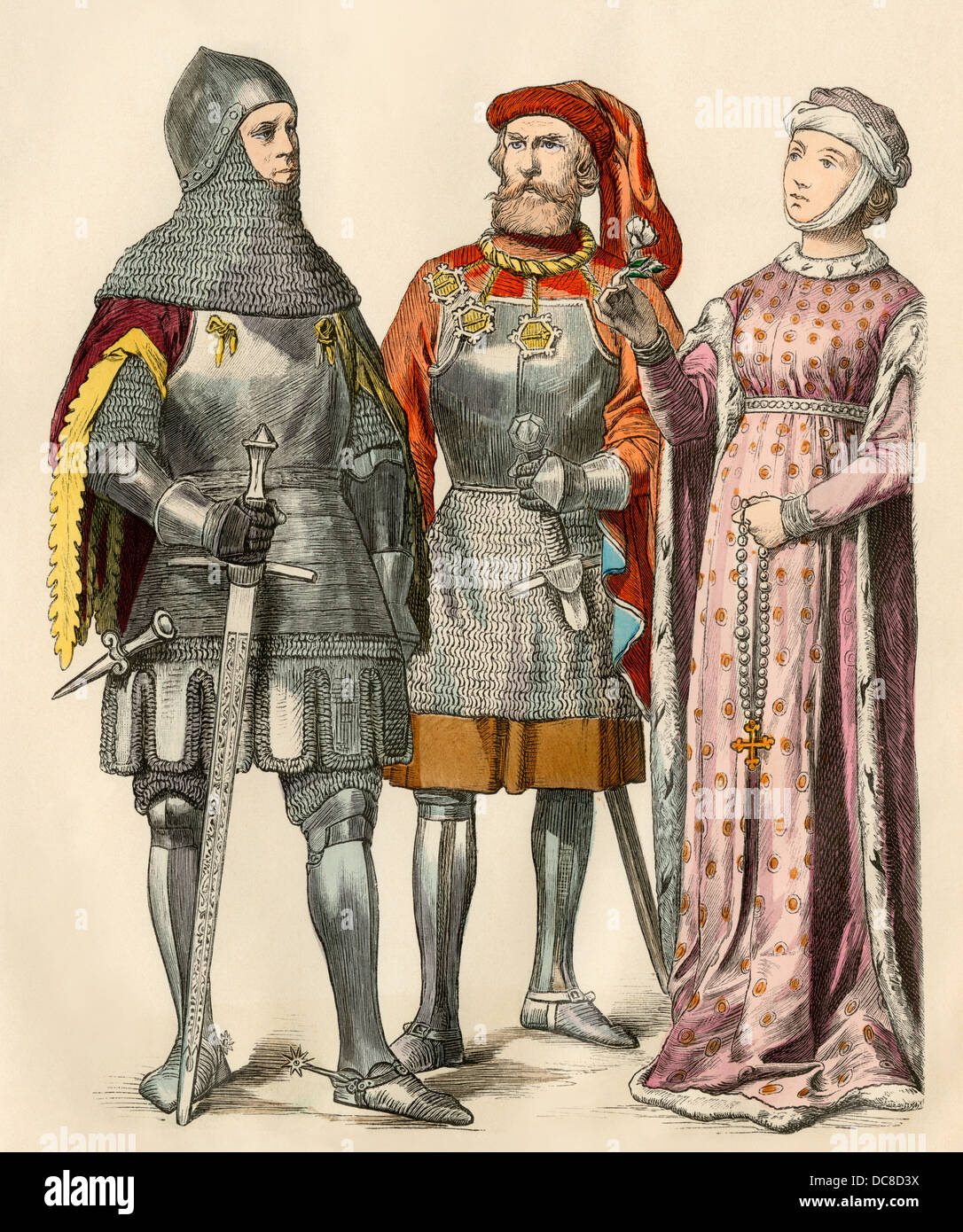 Knights and a lady of the early 1400s. Hand-colored print - Stock Image