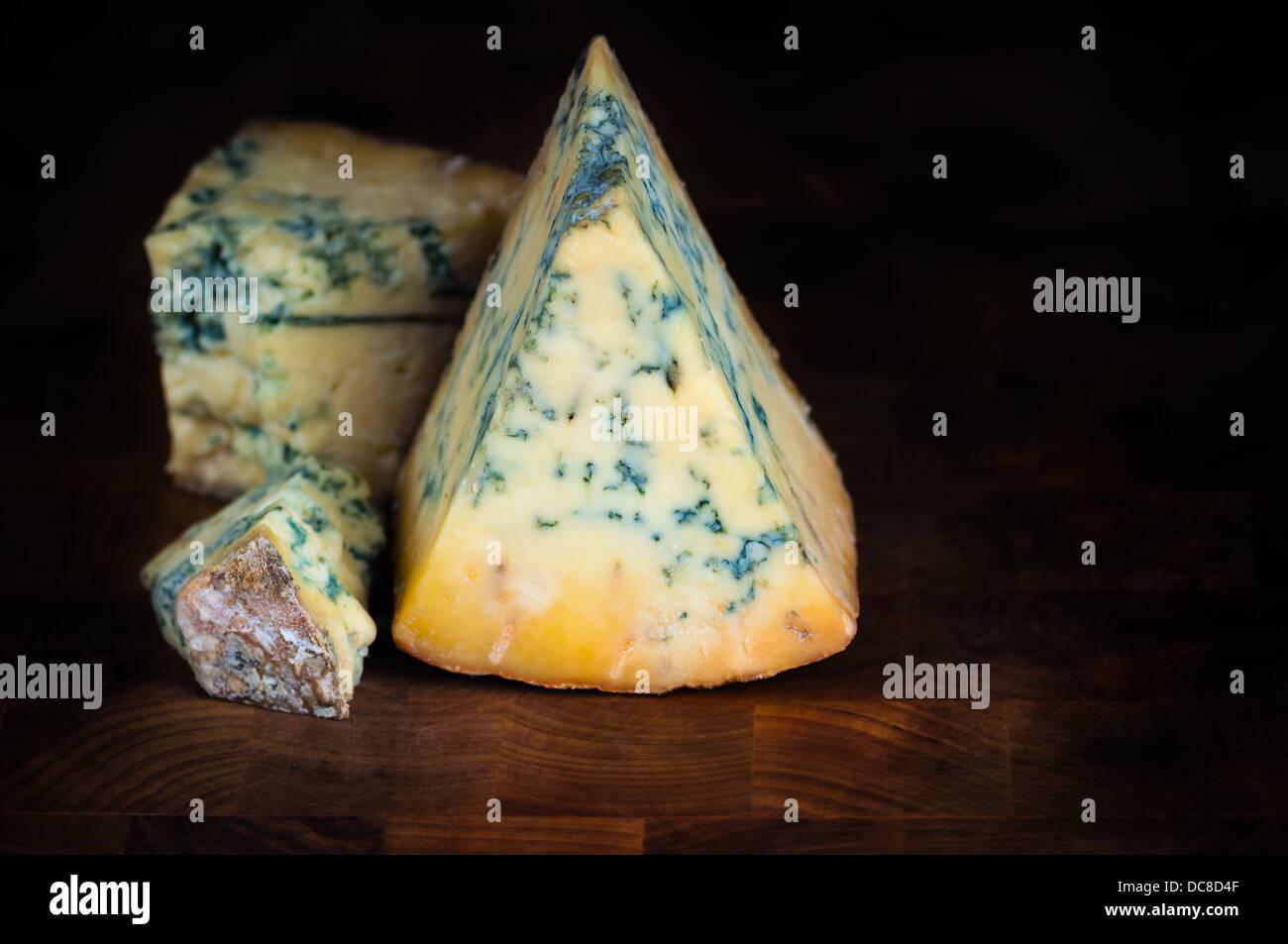 Stilton mature blue cheese - Dark background - Stock Image