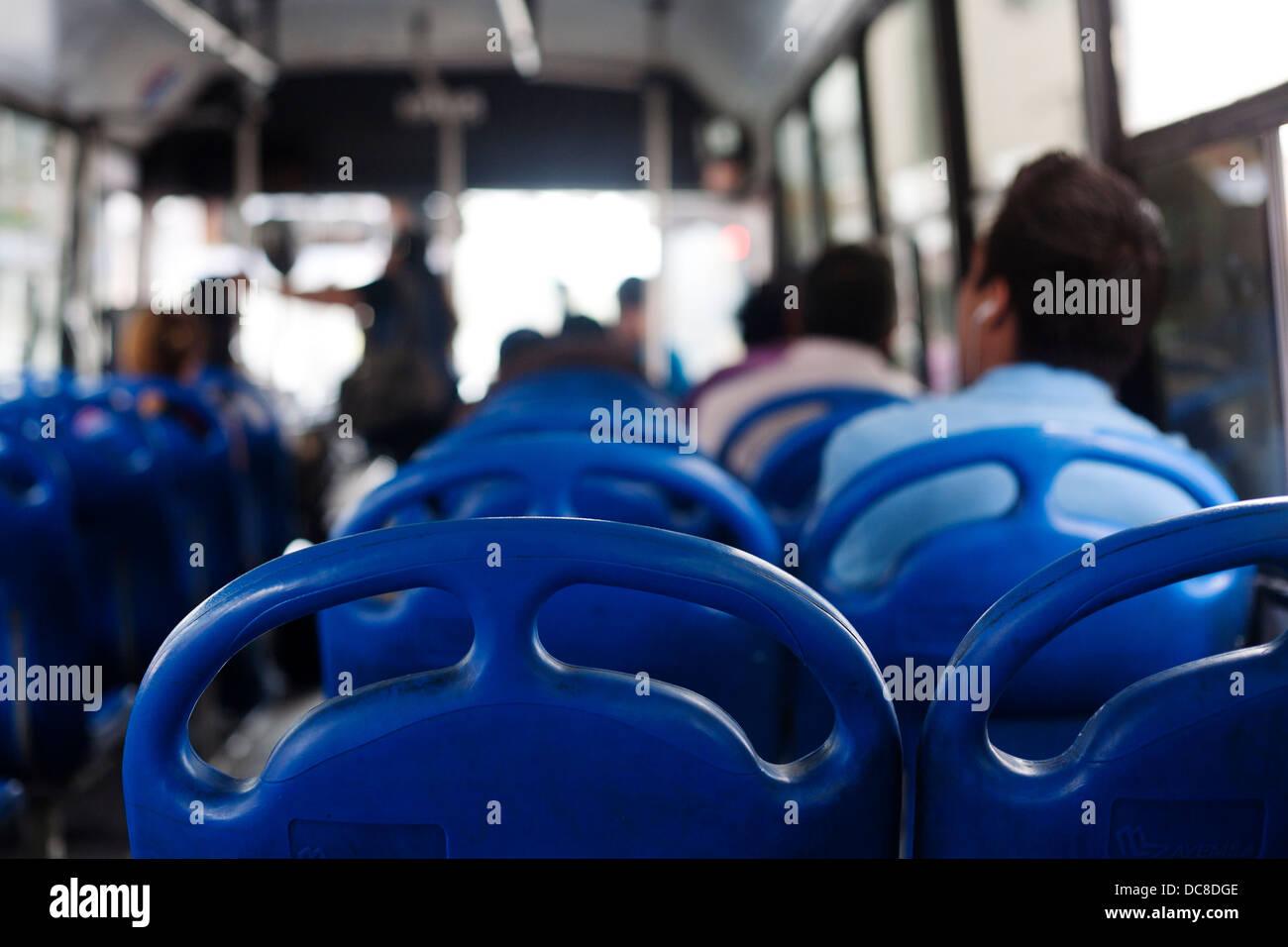 Passengers on a bus in Monterrey, Mexico. Stock Photo