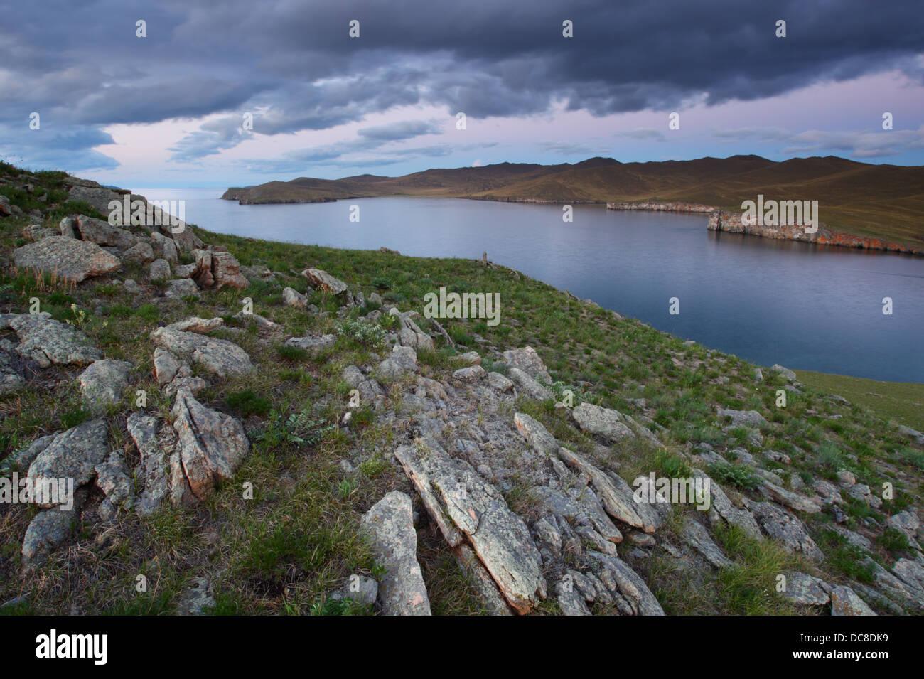 View to the Small Sea (Lake Baikal) from Khibin island. Siberia, Russia - Stock Image