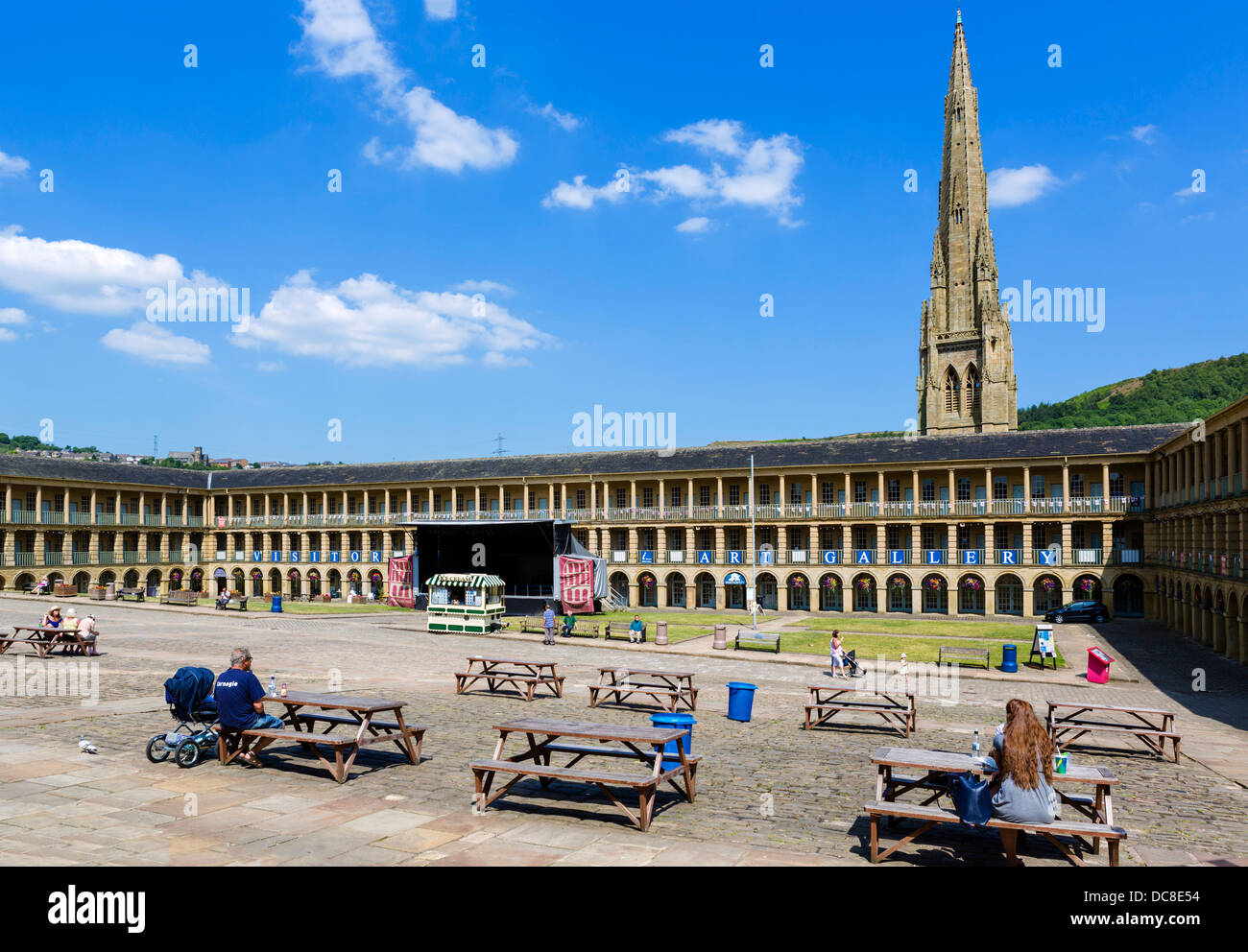 The historic 18thC Piece Hall in the centre of Halifax, West Yorkshire, England, UK - Stock Image