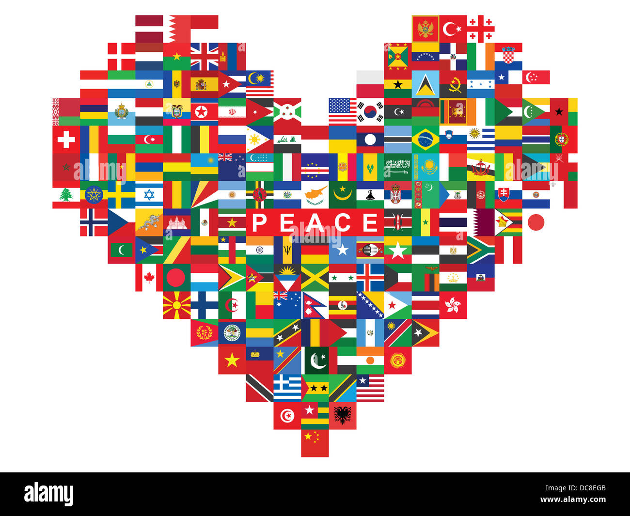 heart made of flags icons with word peace - Stock Image