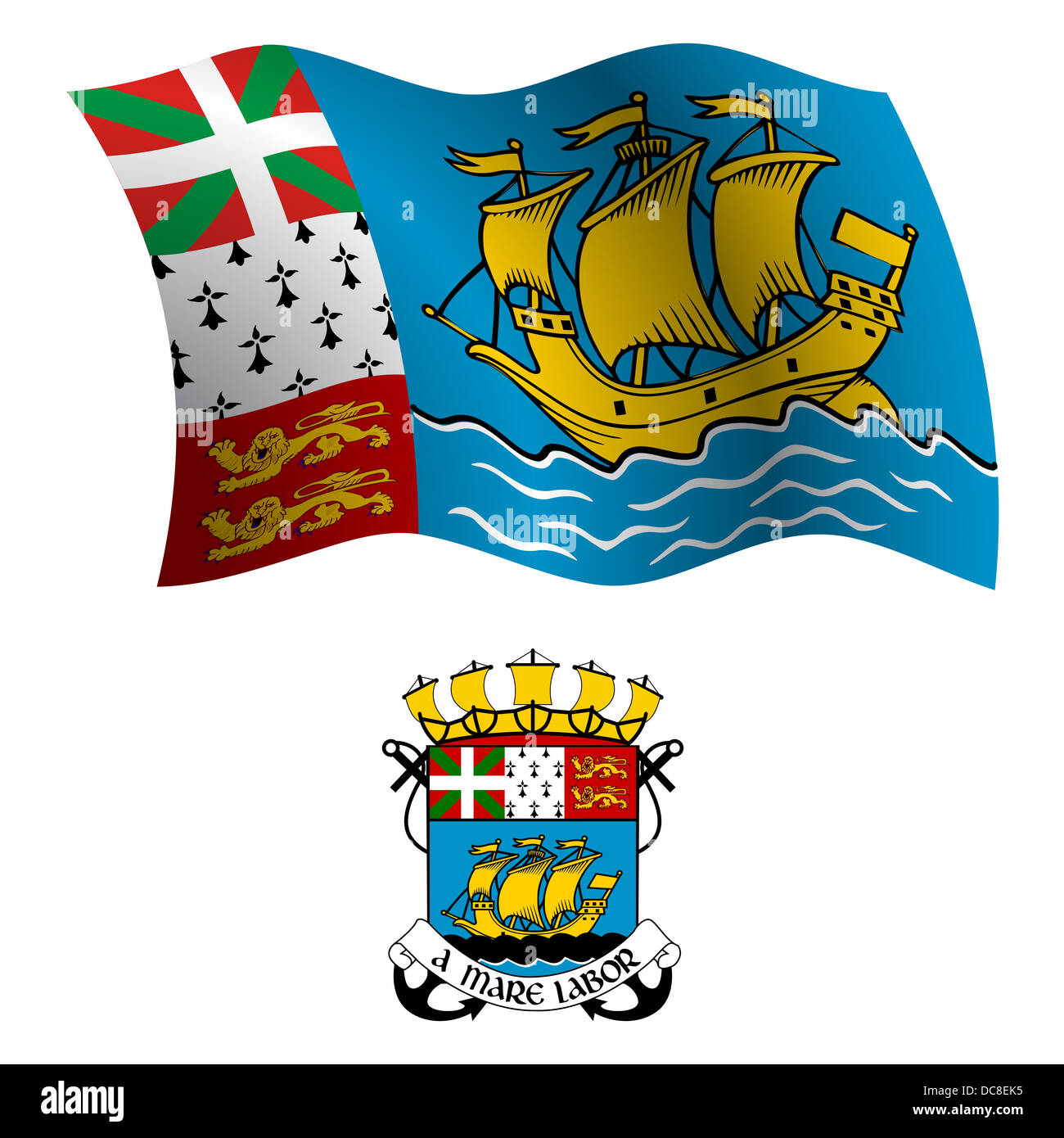 saint pierre and miquelon wavy flag and coat of arm against white background, vector art illustration, image has - Stock Image