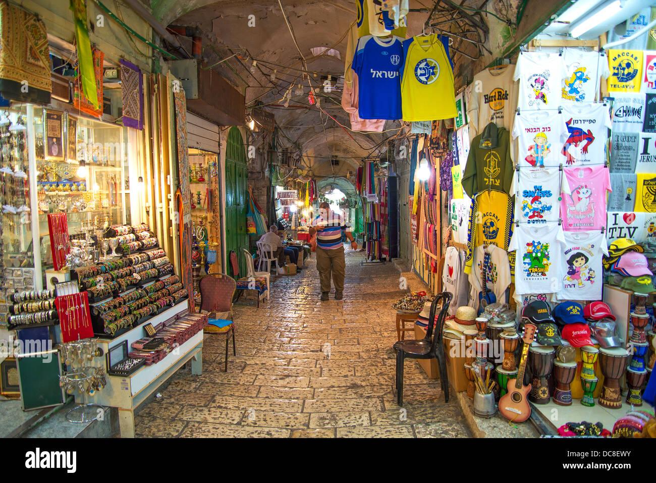 souk market in jerusalem old town israel - Stock Image