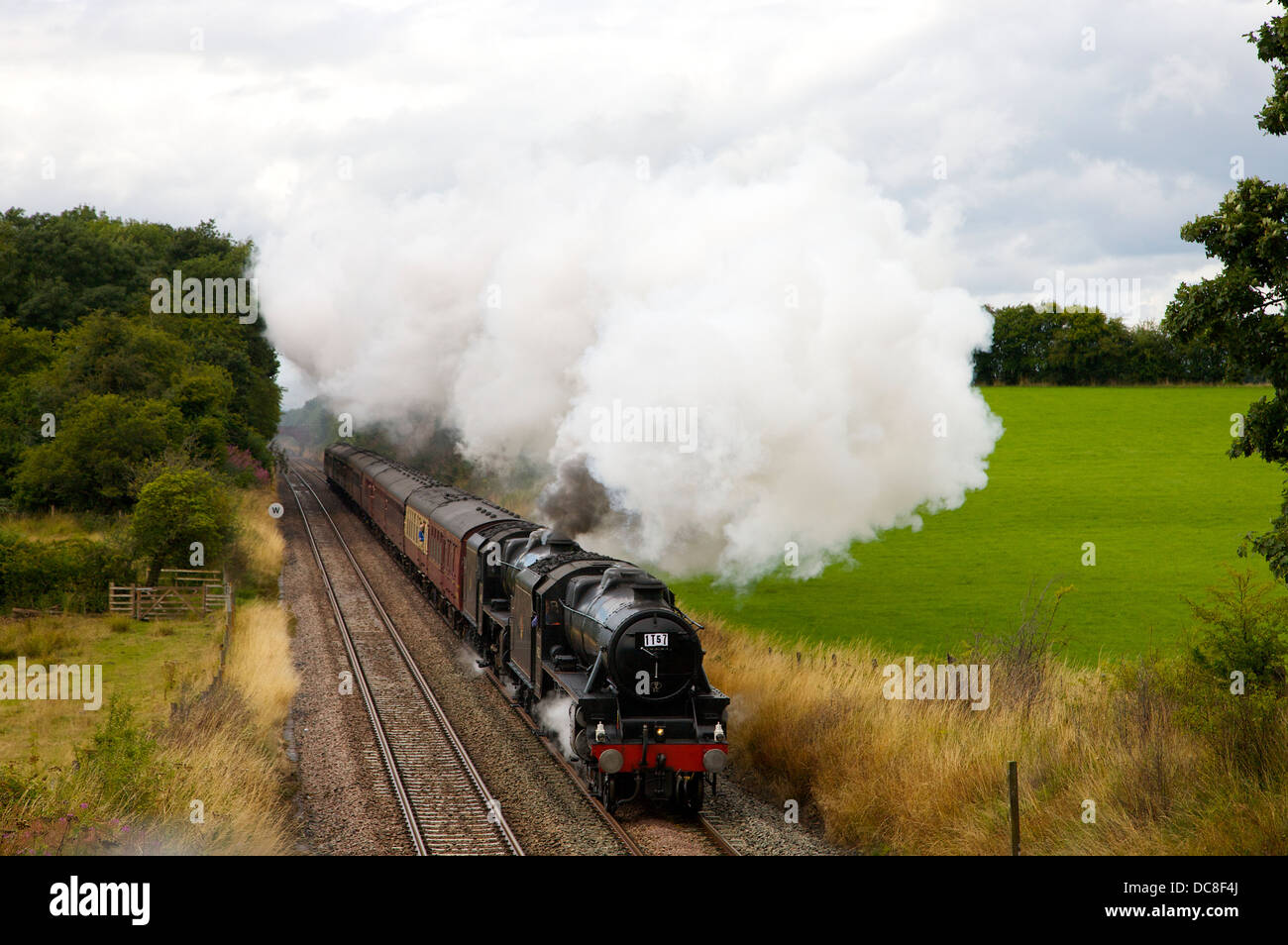Steam train The Sherwood Forester 5231 and other Black Five 44932 behind at Wetheral Sheild on the Settle to Carlisle - Stock Image