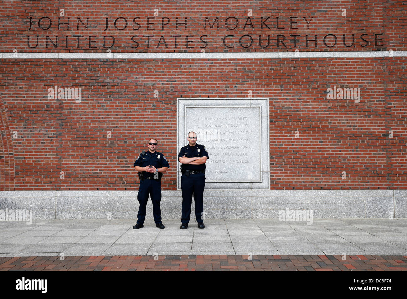 Department of Homeland Security officers outside the federal courthouse in Boston, Massachusetts - Stock Image