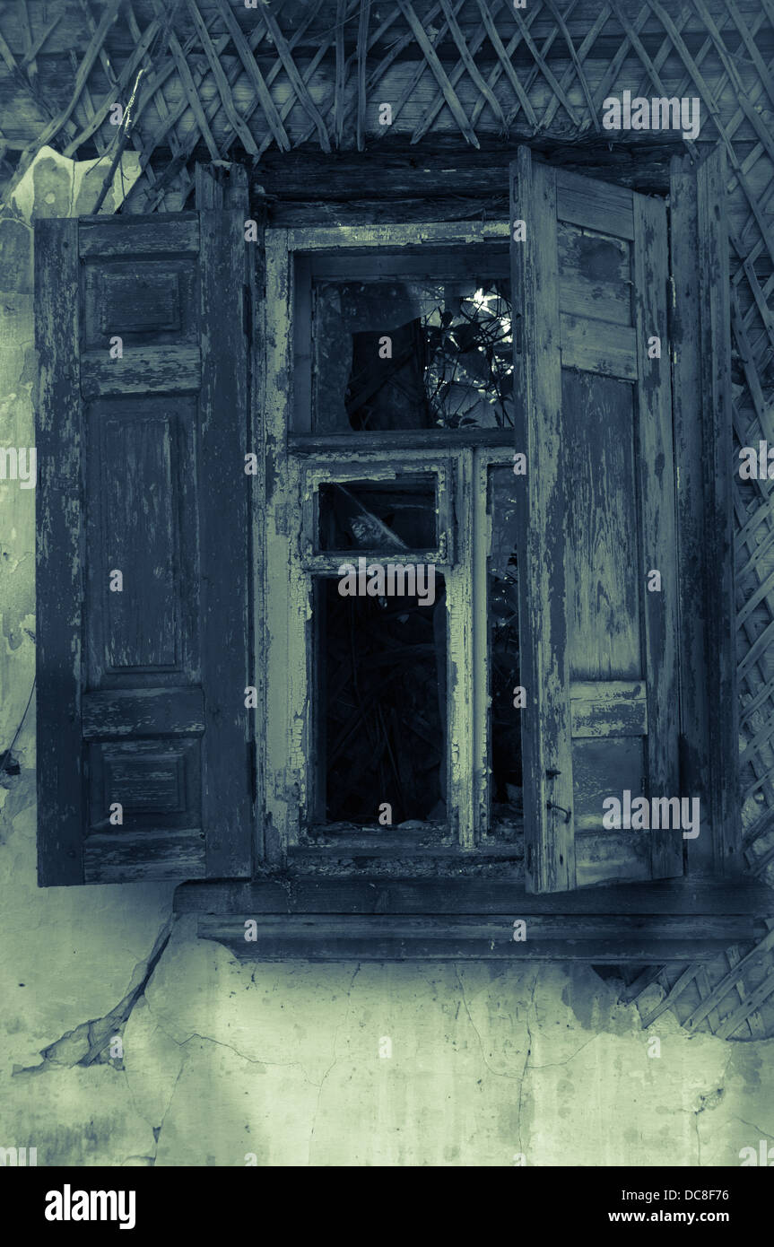 Old Abandoned Haunted House Wooden Window With Shutters