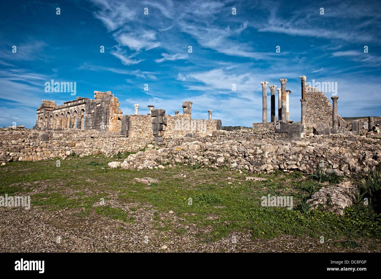 Archeological Site, Roman Ruins, Volubilis. Morocco - Stock Image