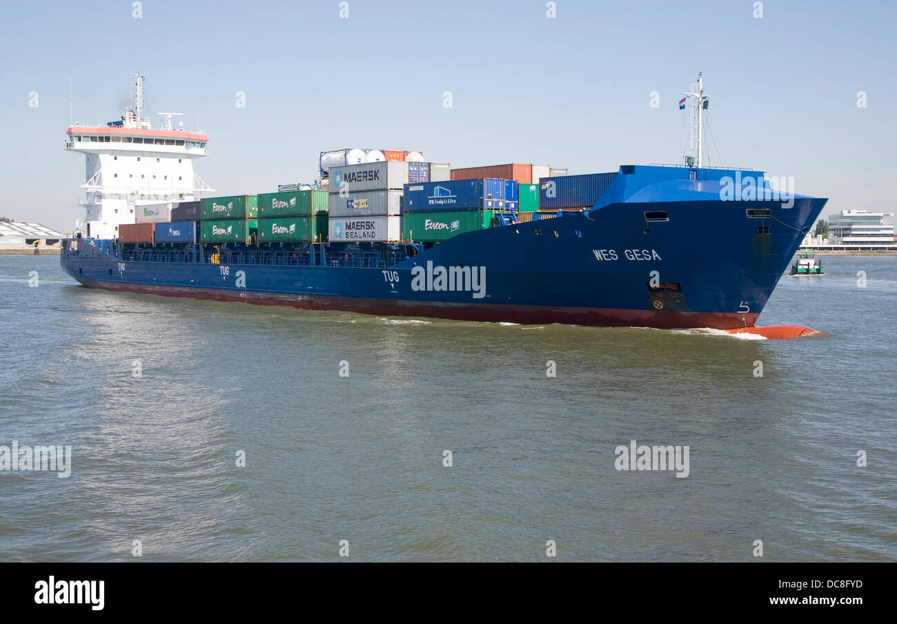 WES GESA container ship Port of Rotterdam Netherlands - Stock Image