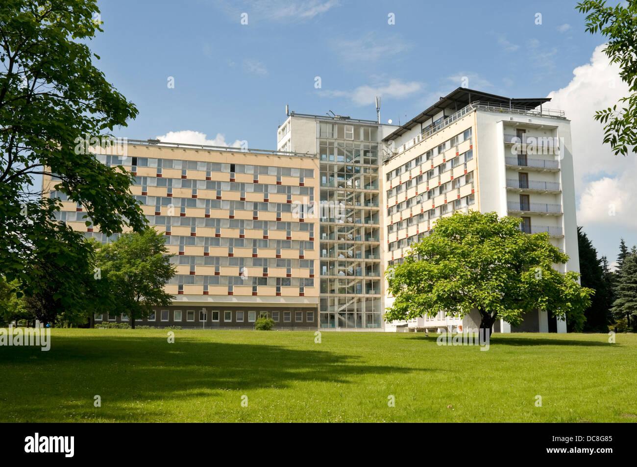 Müritz Hotel (former FDGB ferienhiem built in 1974) in Klink near Waren, Mecklenburg Vorpommern, Germany - Stock Image