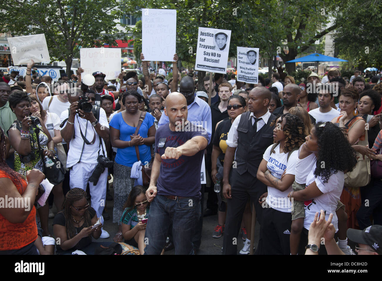 Demonstration and march against institutional racism in America after the verdict came down at the Trayvon Martin - Stock Image