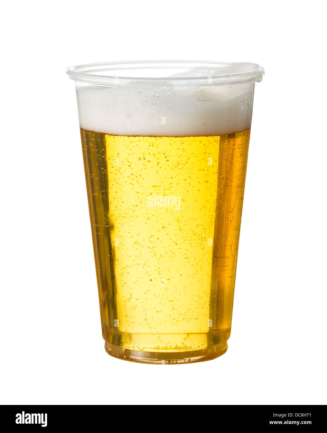 Golden beer, ale or lager in a plastic disposable pint glass - Stock Image