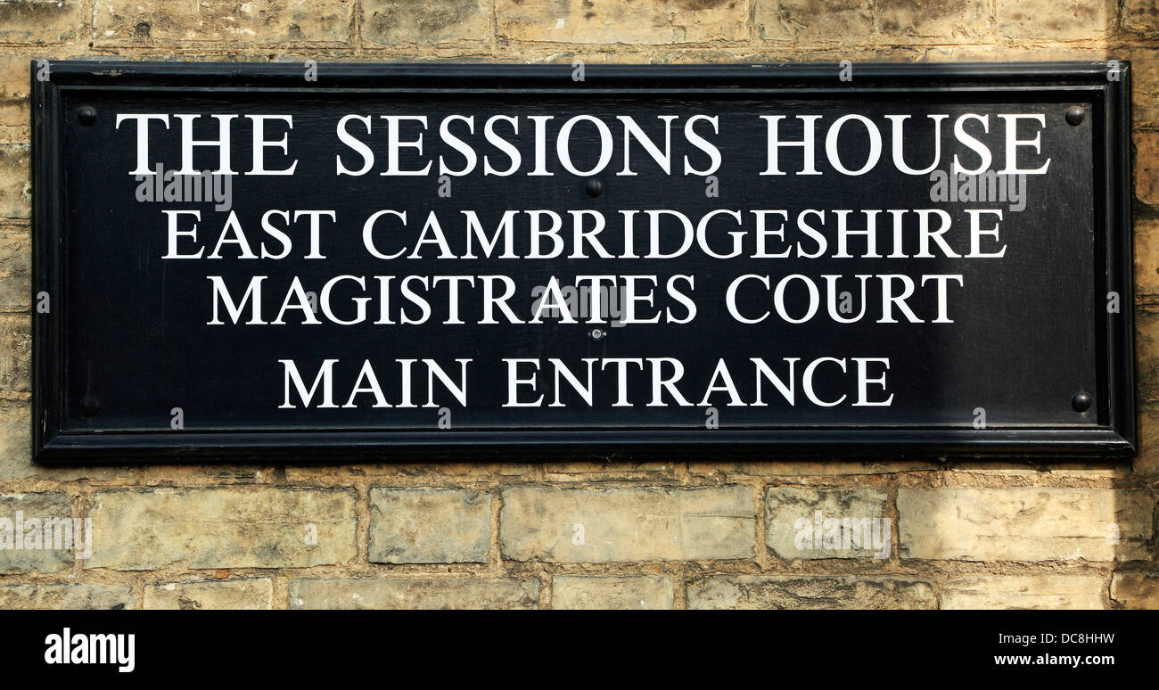 East Cambridgeshire Magistrates Court, Ely, The Sessions House, sign, England UK law courts - Stock Image