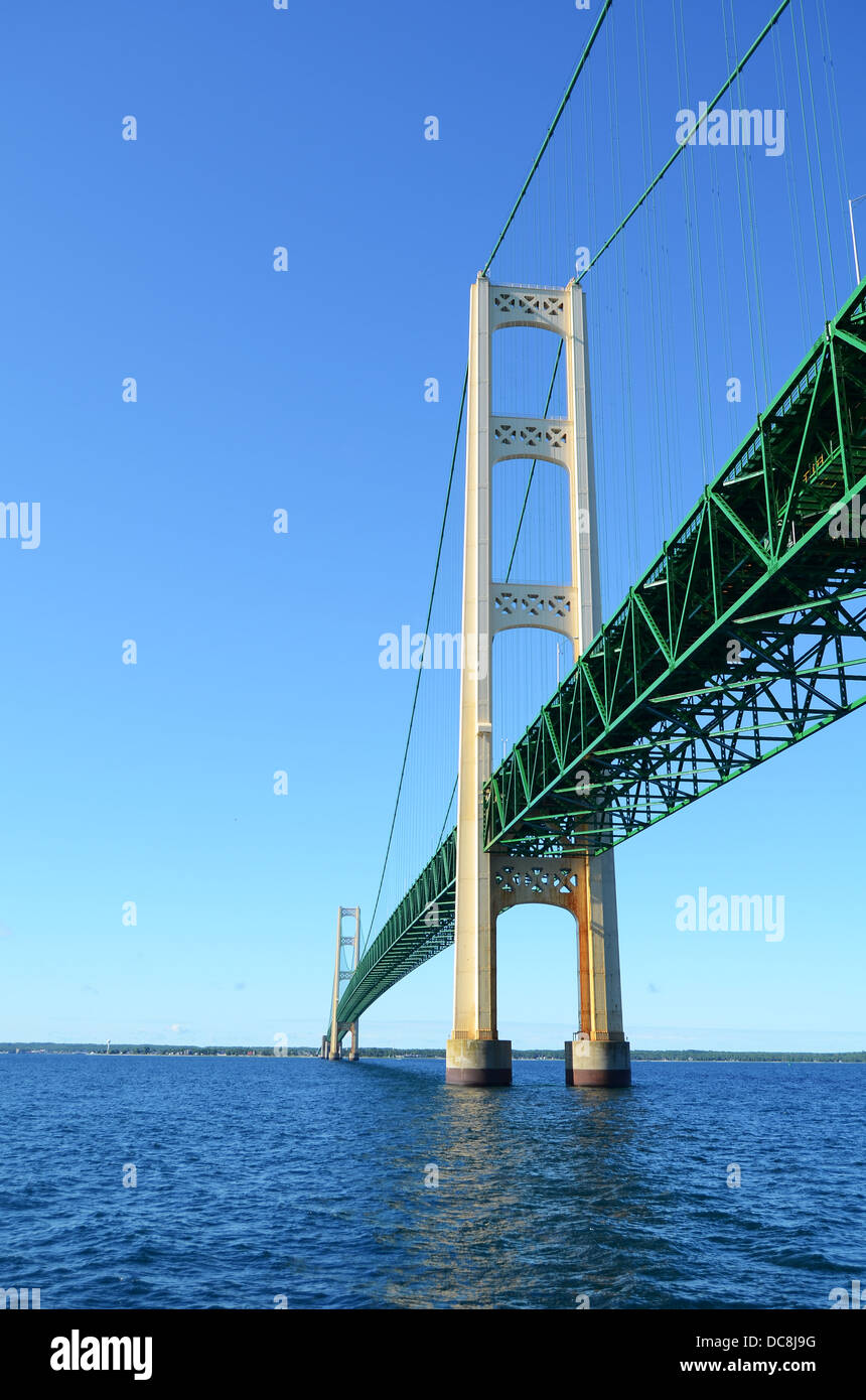 Mackinac Bridge over the Straits of Mackinac, Michigan, USA - Stock Image