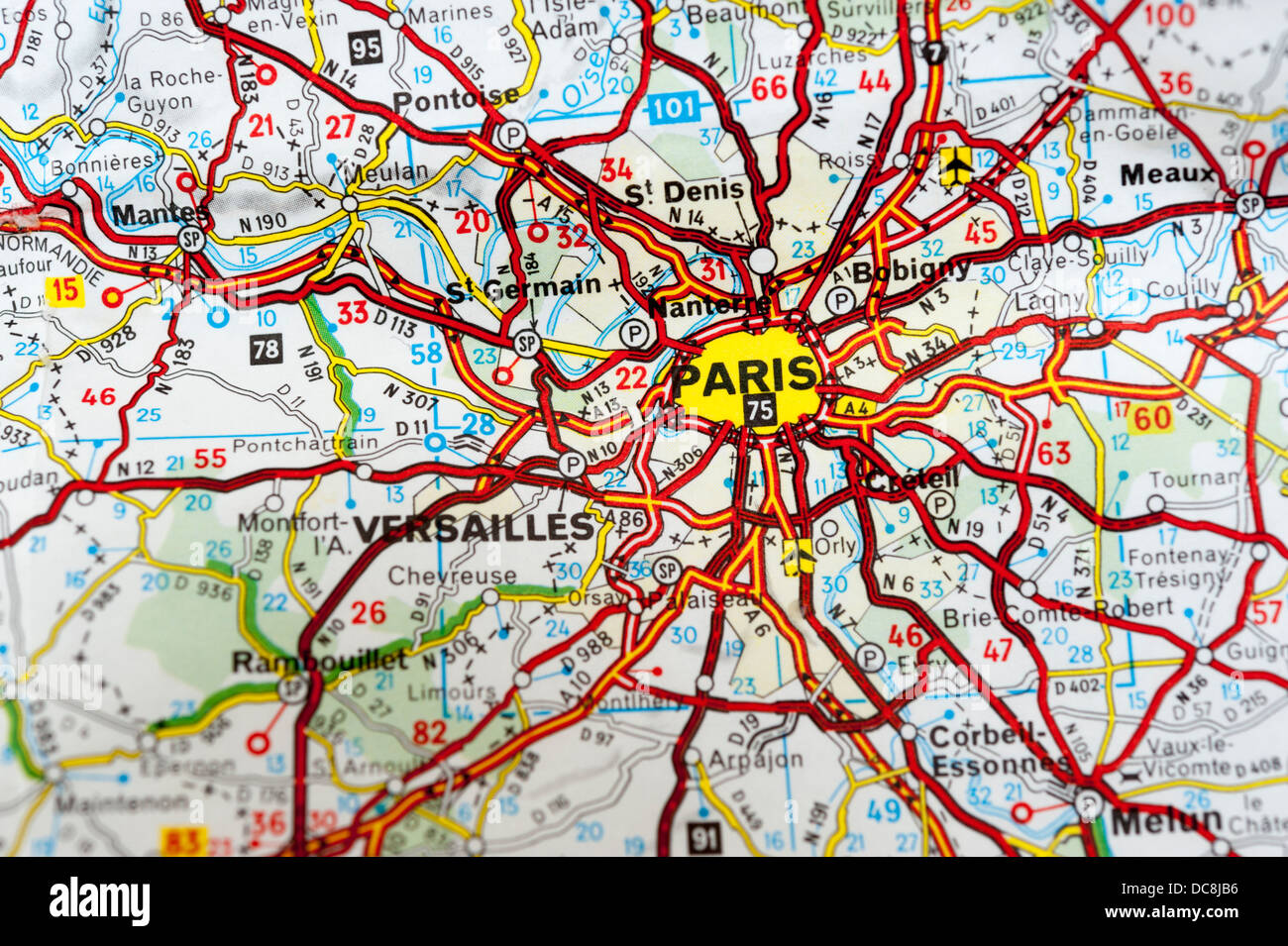 map of paris and surrounding areas close up stock image