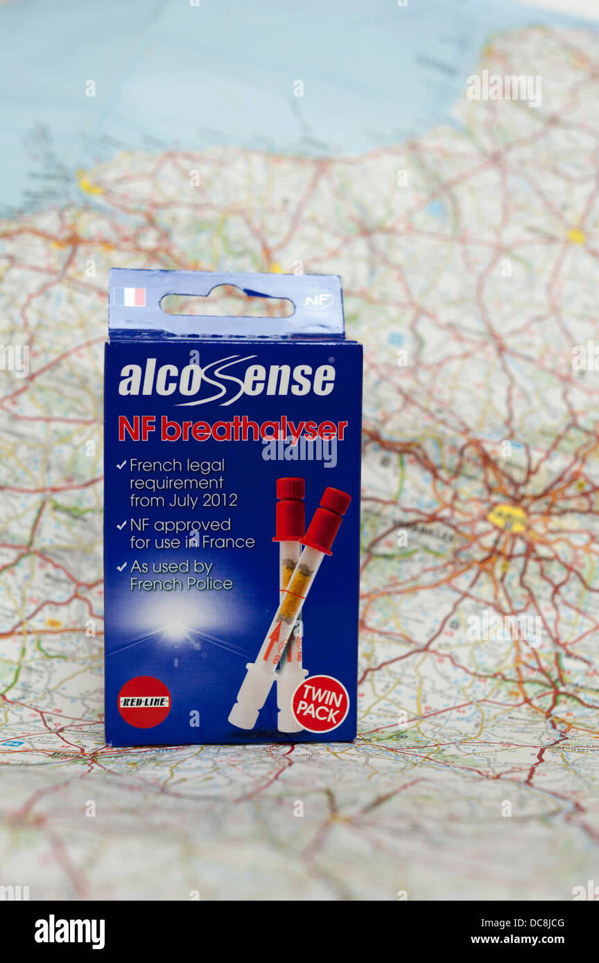 Alco sense Breathalyser kit on a map of France. - Stock Image