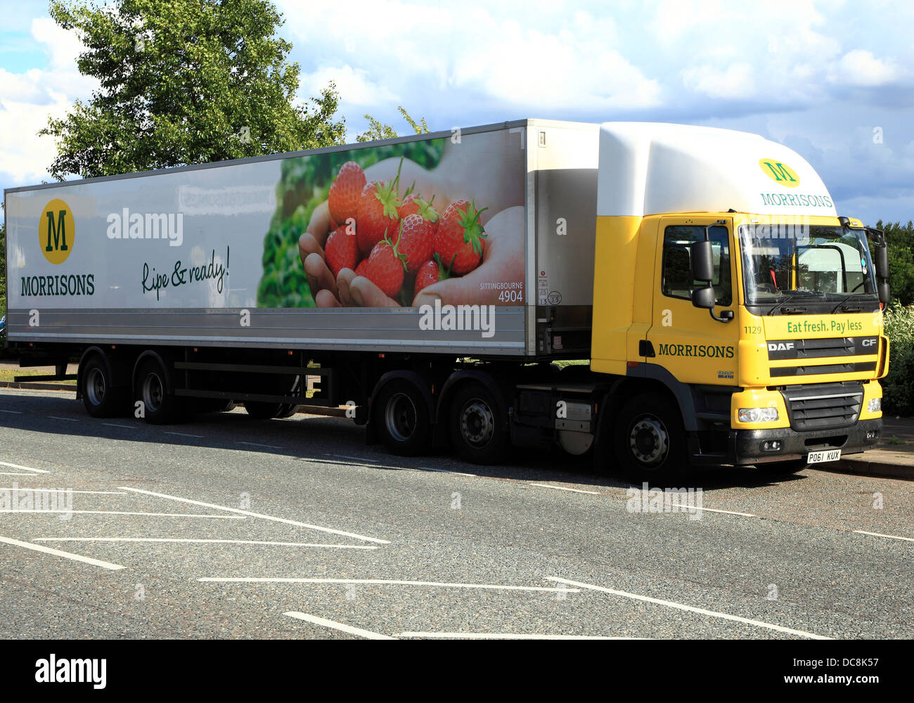 Morrisons Supermarket transit delivery truck lorry vehicle English supermarkets vehicles trucks England UK - Stock Image