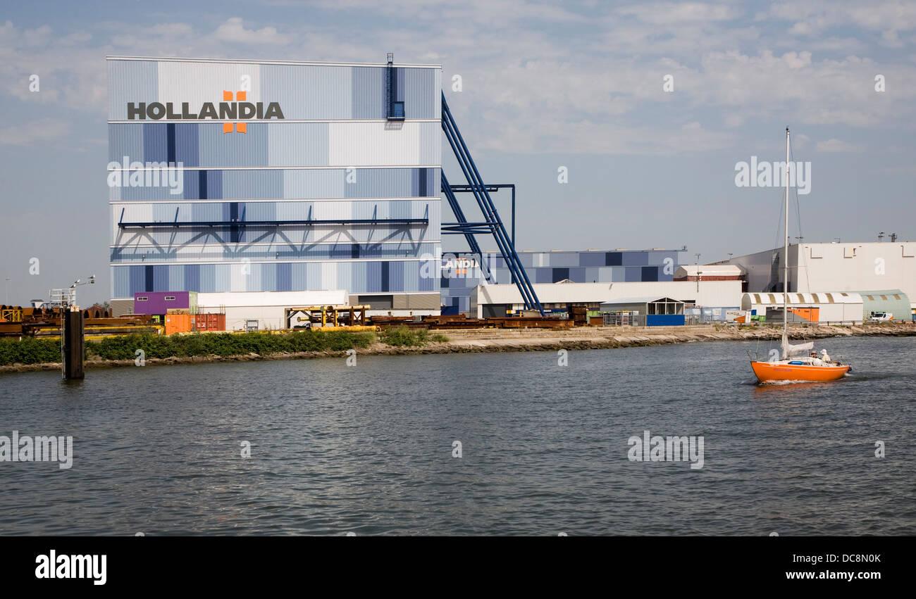 Waterside sign Hollandia steelworks Krimpen aan de Ijssel, Rotterdam, Netherlands - Stock Image