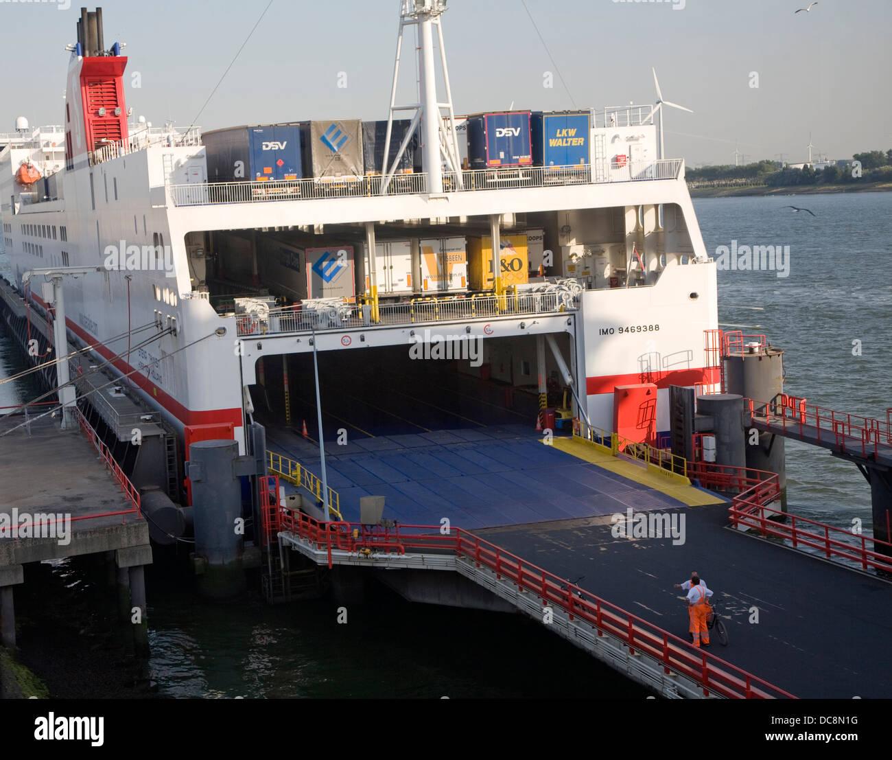 Ro-ro vehicle freight ferry Hoek van Holland Netherlands - Stock Image