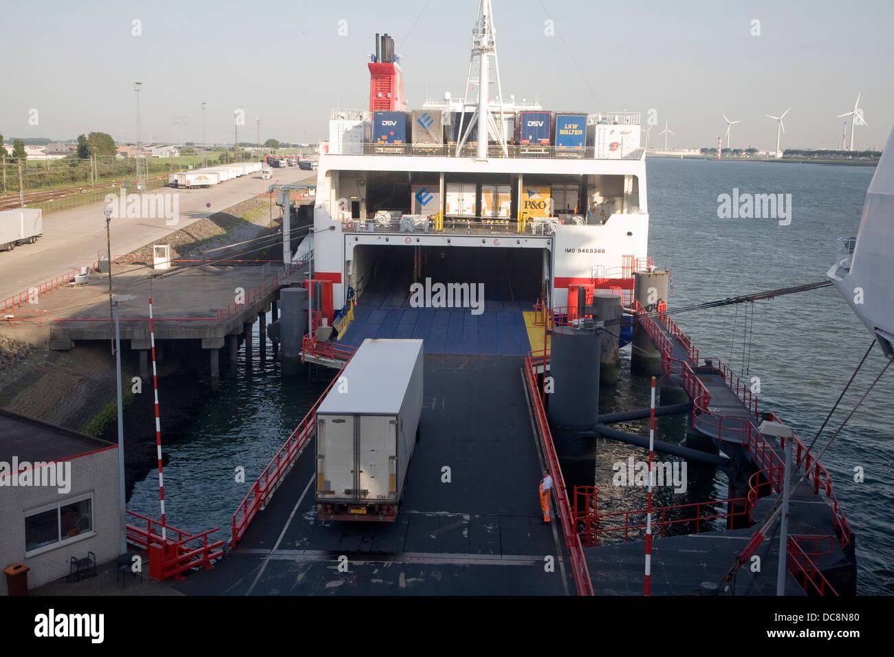 Ro-ro vehicle freight ferry HGV vehicles loading unloading Hoek van Holland Netherlands - Stock Image