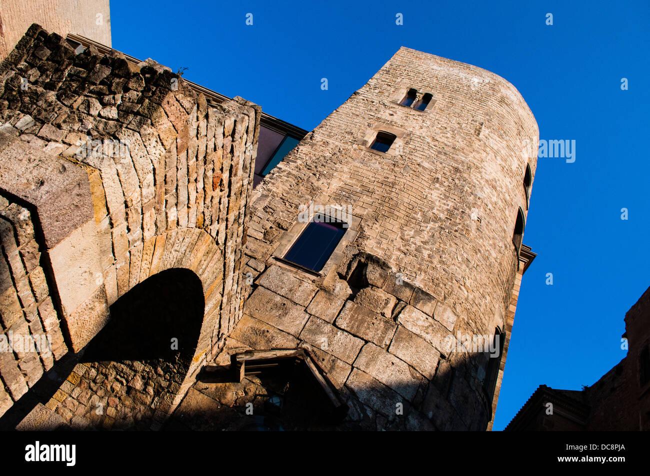 Acueducto Acueducto Romano, Barcelona, Cataluña, España - Stock Image