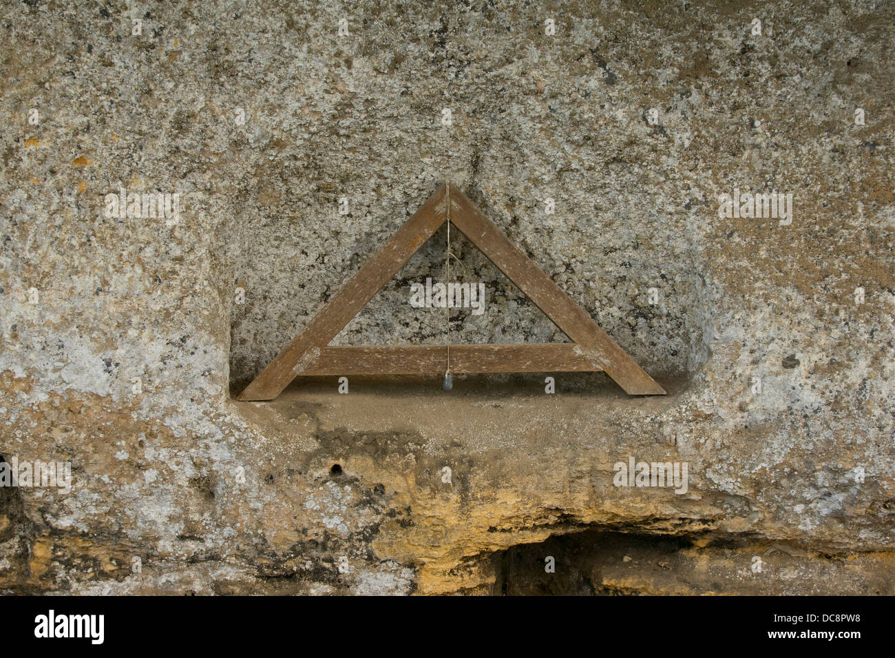 A plumb-line (archipendula), in La Roque Saint-Christophe, Dordogne, France Stock Photo