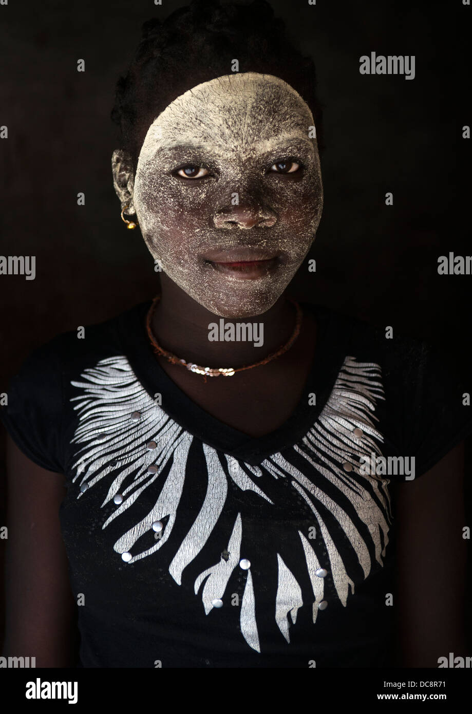 Woman With Muciro Face Mask, Ibo Island, Mozambique - Stock Image