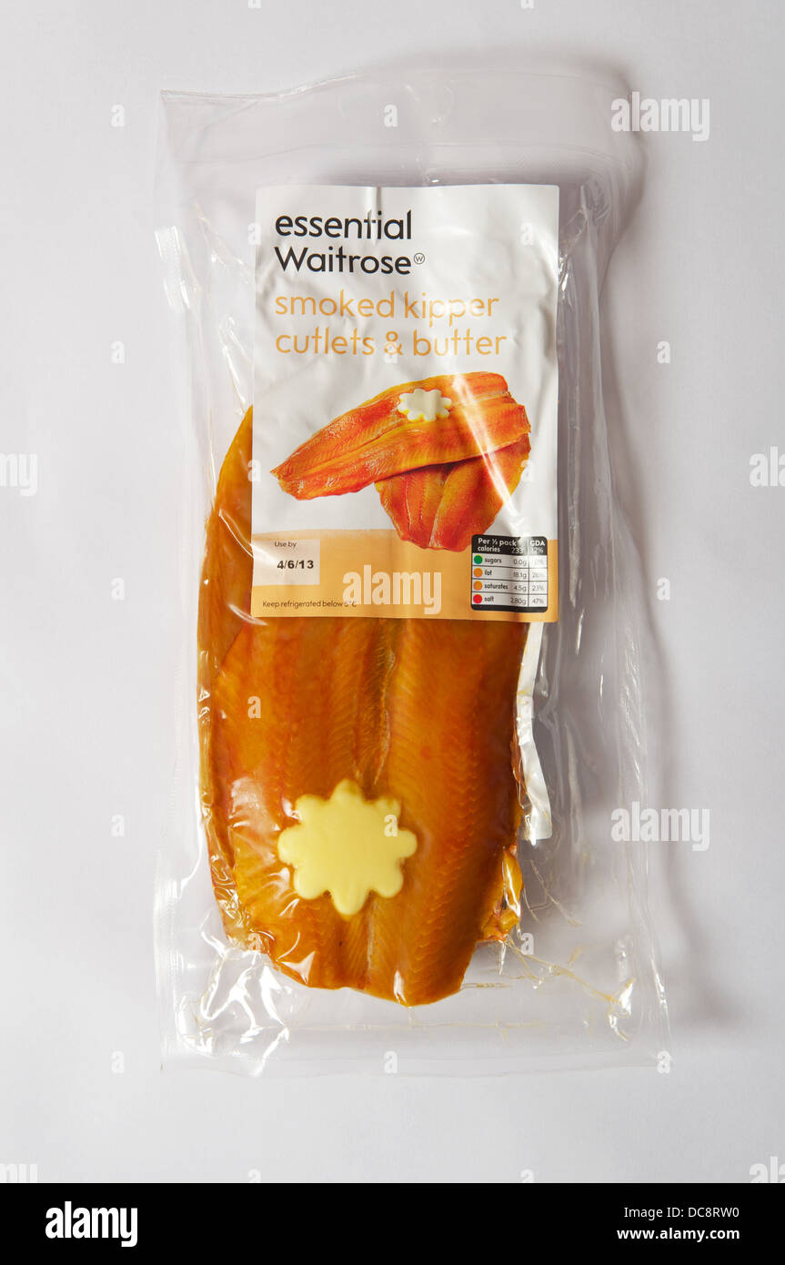 Waitrose Essential smoked kipper cutlets and butter - Stock Image