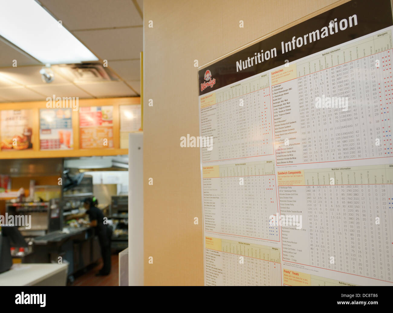 Nutrition information posting at a fast food restaurant, NJ, USA - Stock Image
