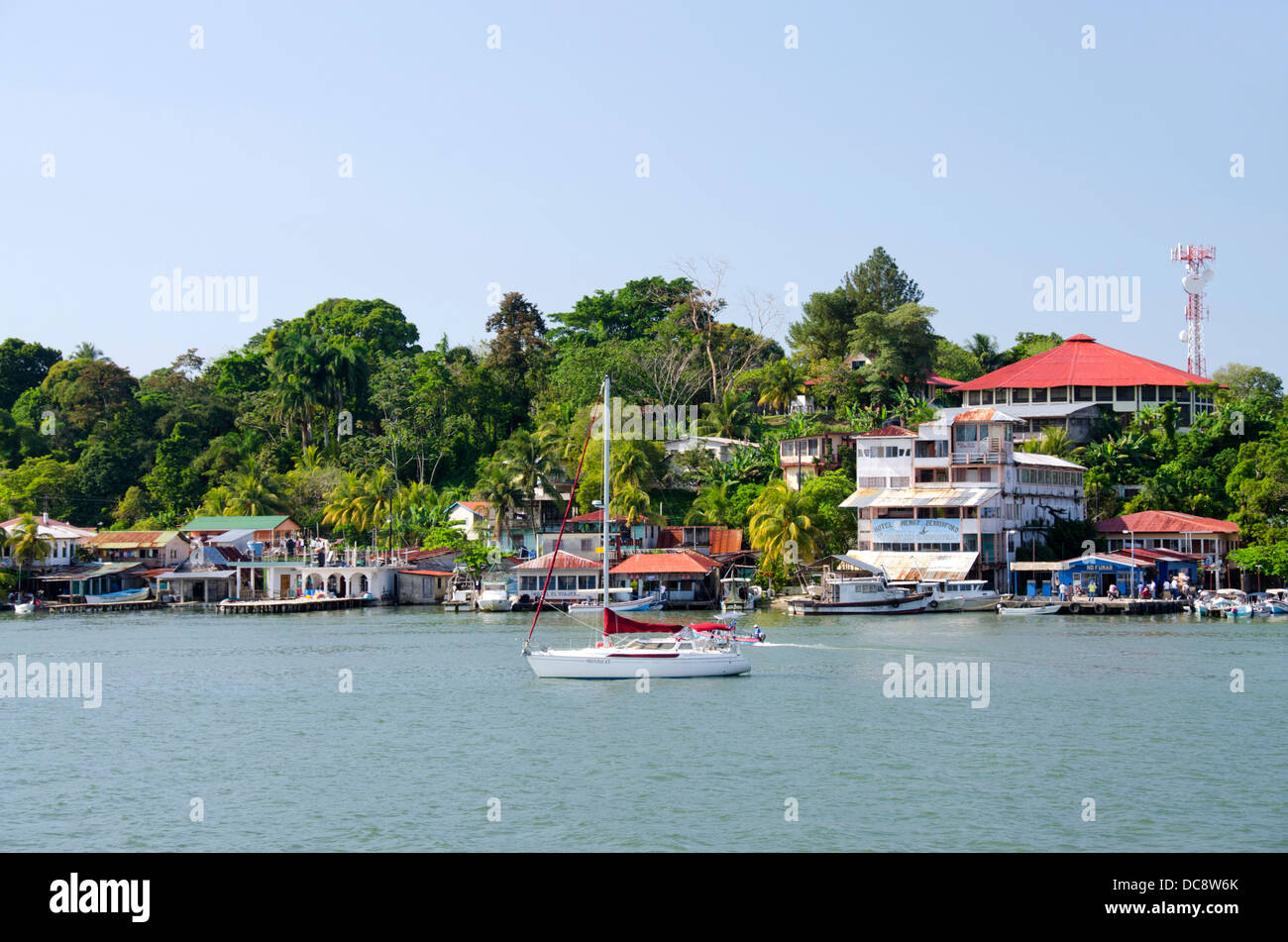 Guatemala, Livingston. Coastal view of the small port city of Livingston at the mouth of the Rio Dulce river. - Stock Image