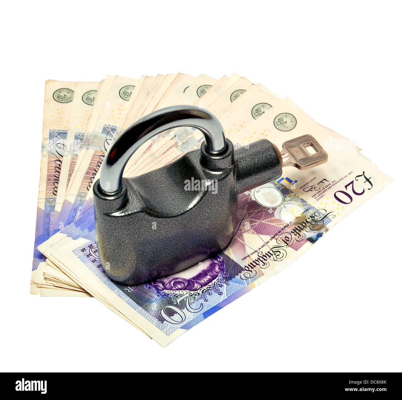Money and padlock safety concept clipping path included - Stock Image