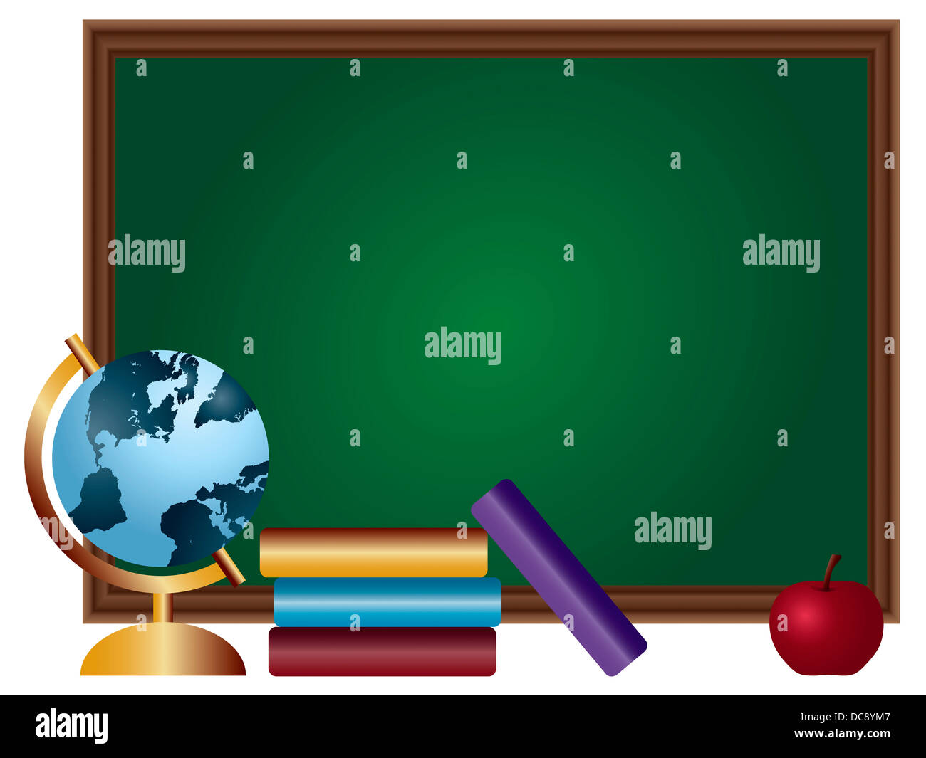 school classroom chalkboard blank with textbooks spinning world globe and red apple illustration