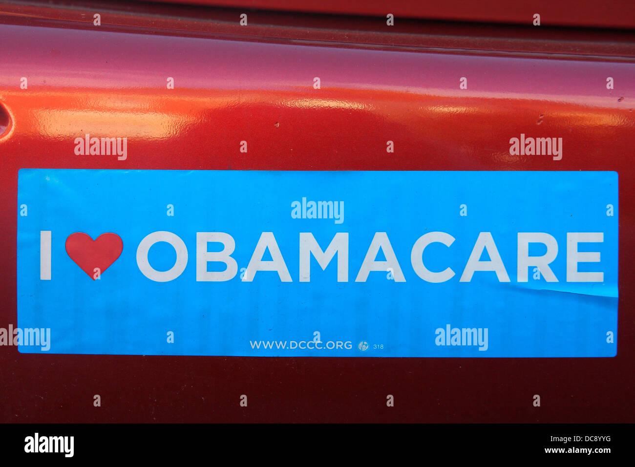 'I Love Obamacare' political sticker. - Stock Image