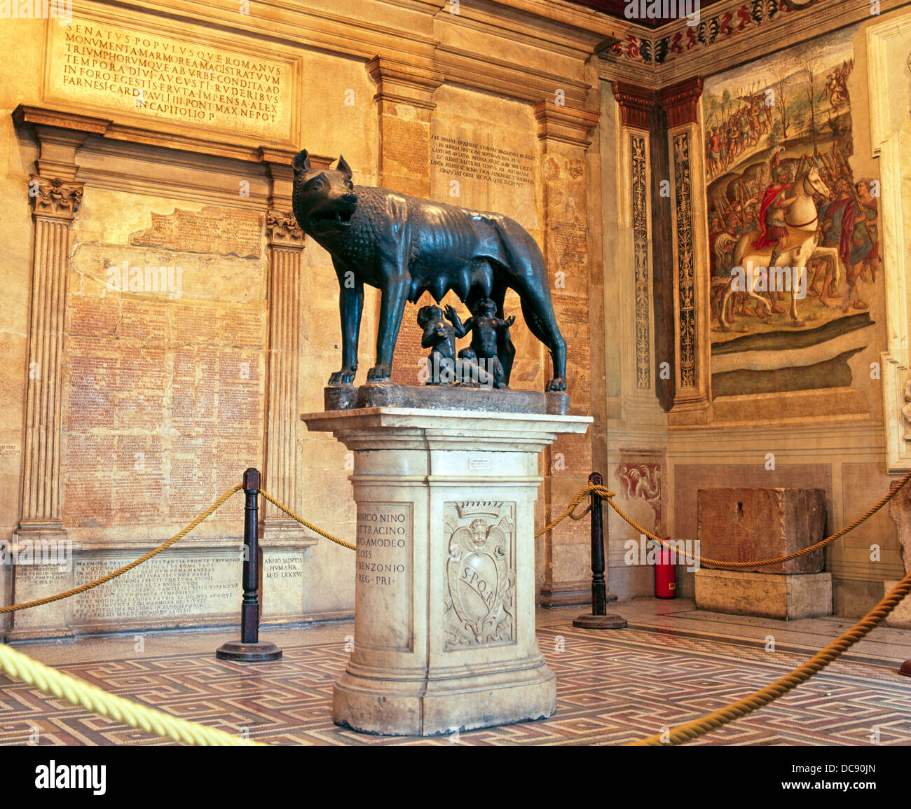 Bronze Statue Of Romulus And Remus Rome Italy - Stock Image