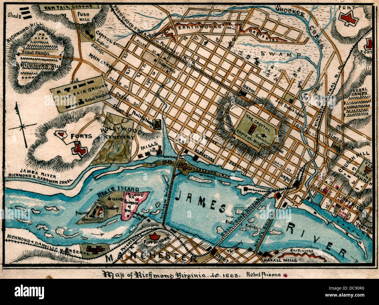 Civil War Sites In Virginia Map.Map Of Richmond Virginia During Usa Civil War 1863 Stock Photo
