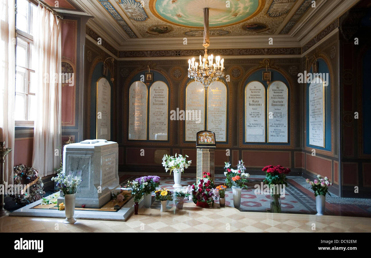 The tomb of Nicholas II and his family members, The Saints Peter and Paul Cathedral, Saint Petersburg, Russia. - Stock Image