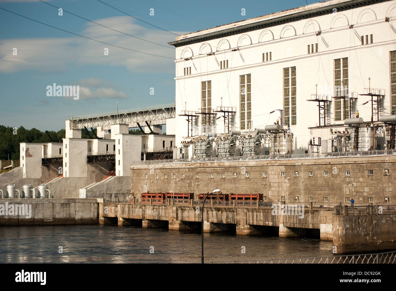 Hydro power plant on Svir River Volga-Baltic Waterway Russia - Stock Image
