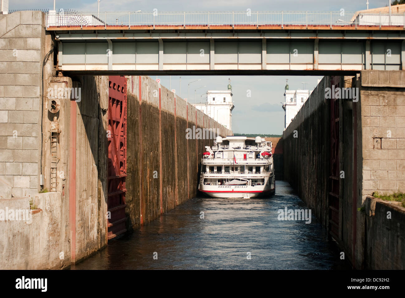 Cruise ship going into a lock on Volga-Baltic Waterway Russia Stock Photo