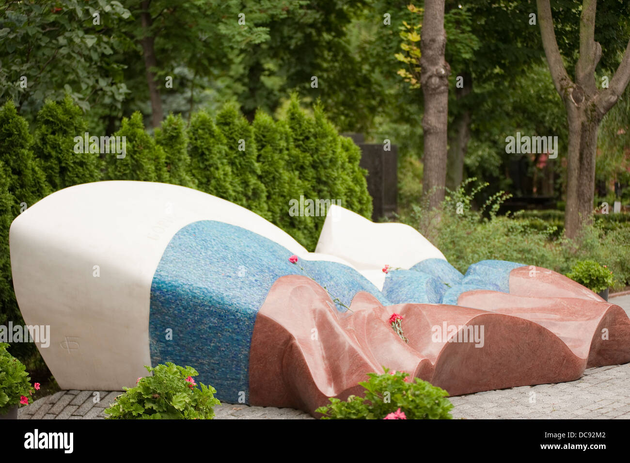 Boris Yeltsin grave at Novodevichy Cemetery in Moscow Russia - Stock Image