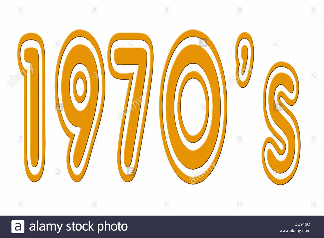 Digital composition 1970's in a seventies style font. - Stock Image