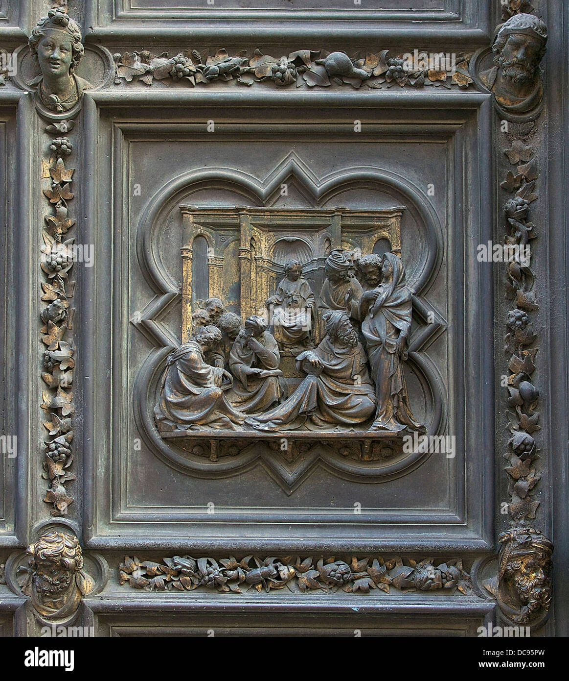 Jesus among the doctors', bronze plaque of the north door of the Florence Baptistery, Italy. - Stock Image