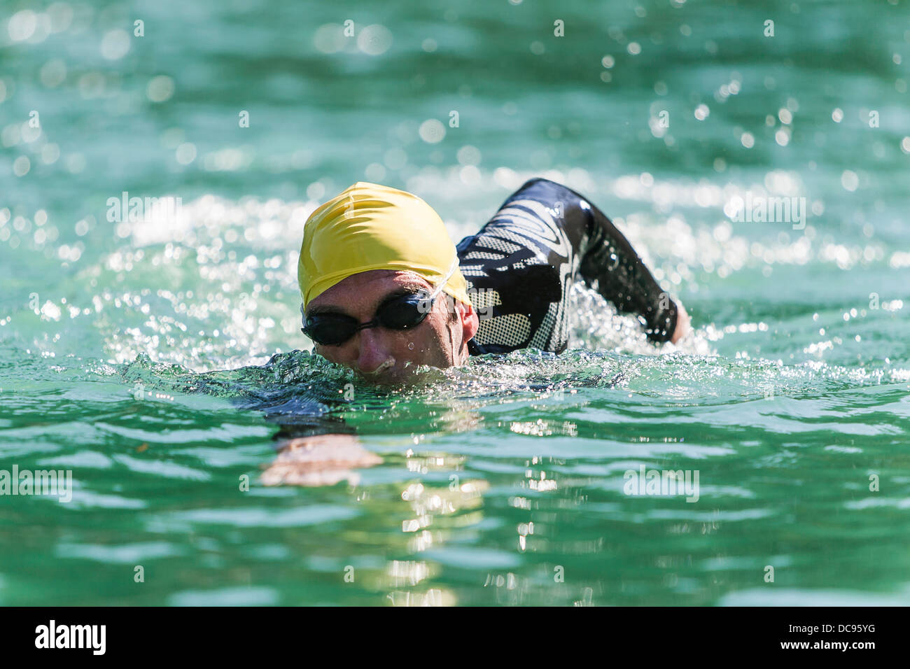 Male triathlete M39 during swimming training, Germany, Europe - Stock Image
