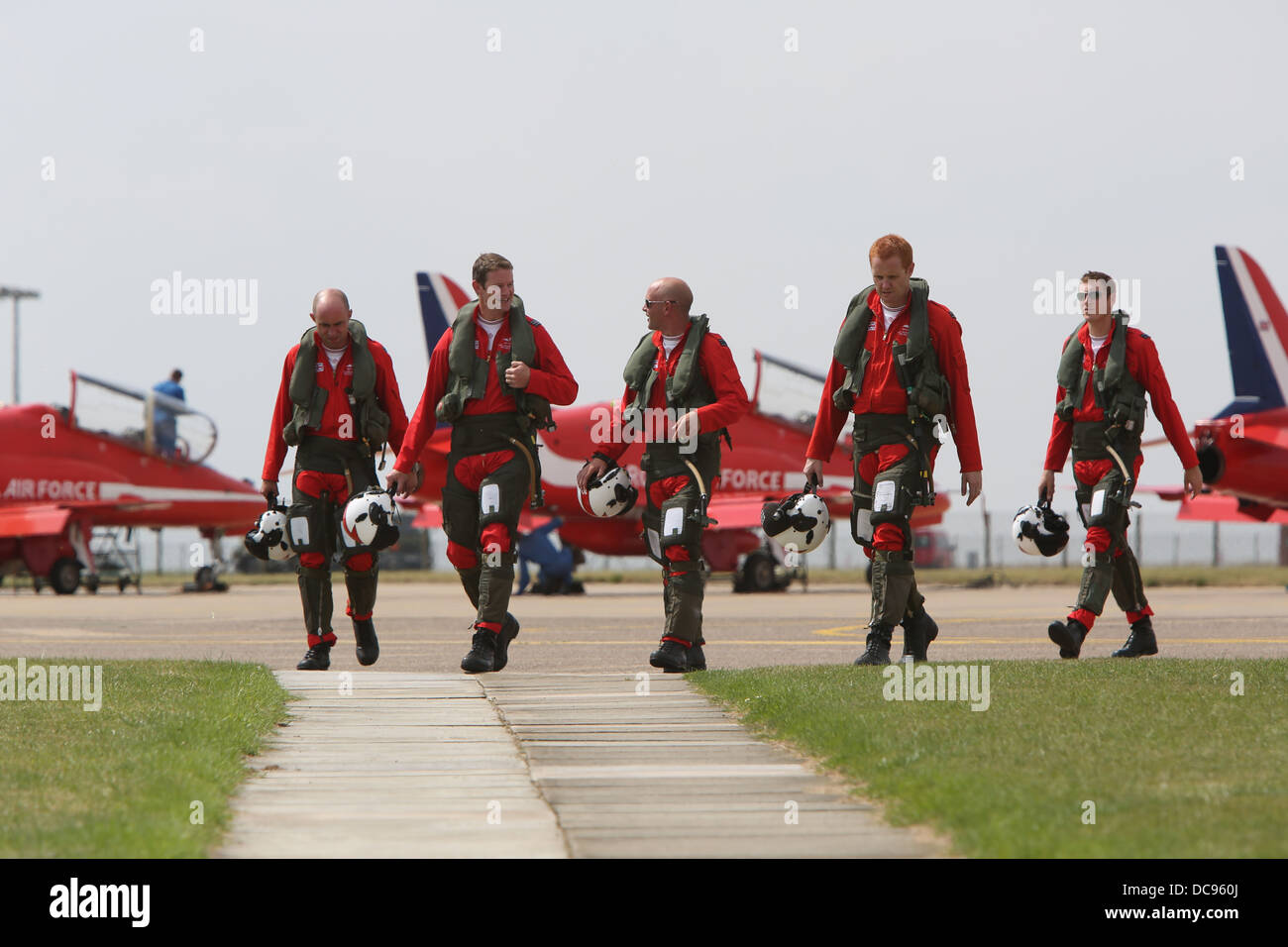 red arrows pilots return to the crew room after display. - Stock Image