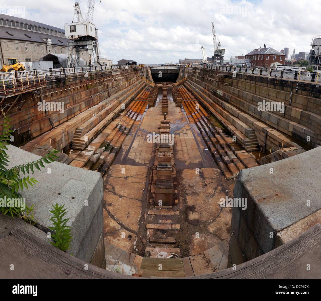 Historic Dry dock, at  Charlestown Navy Yard, Boston. Stock Photo