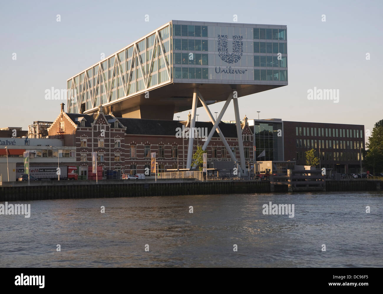 Unilever offices built over old factory building Rotterdam Netherlands - Stock Image