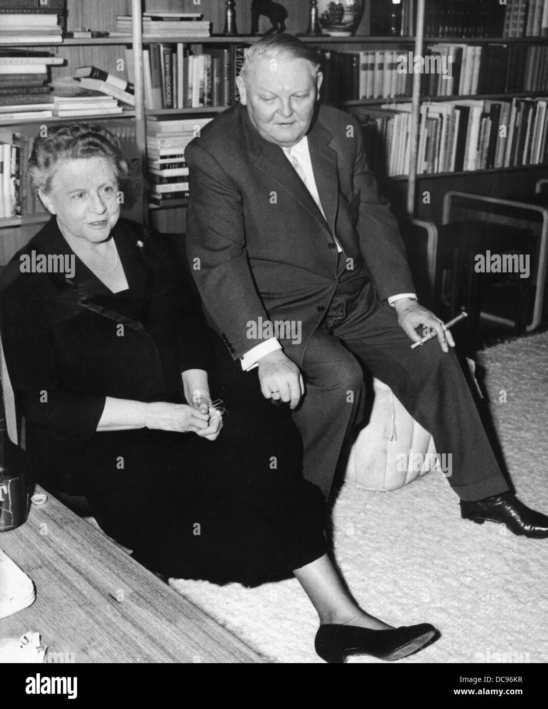 Federal minister of economy Ludwig Erhard and his wife Luise in their house at Tegernsee on an archive picture from the 1960s. Stock Photo