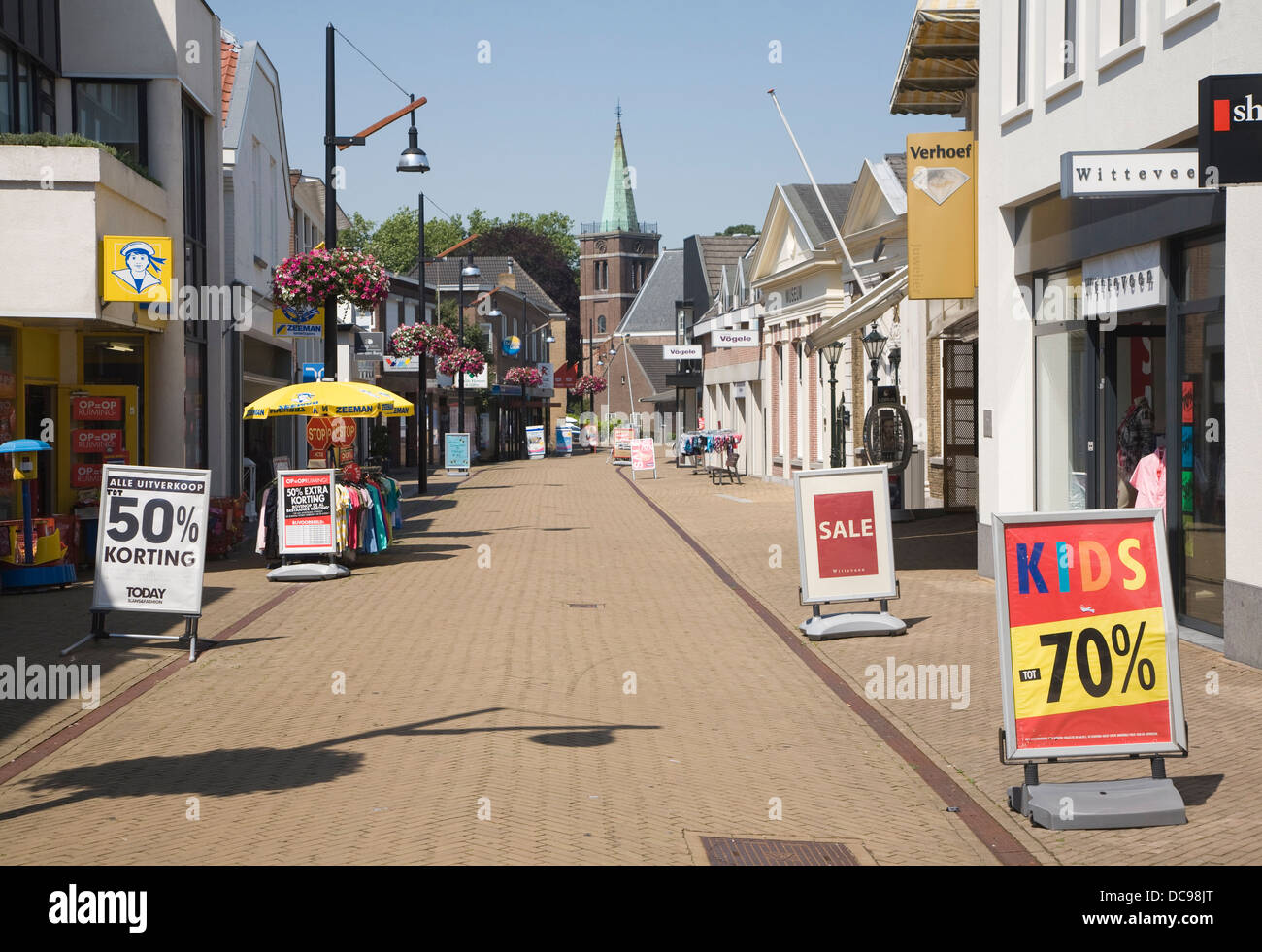 Almost deserted shopping street hot weather Sliedrecht Netherlands Stock Photo